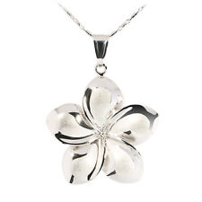 14K White Gold Plumeria Flower Pendant 12mm Hawaiian Jewelry GP3153