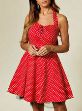 New Women Vintage Style Sweetheart Front Halter Neck Polka Dot Print Mini Dress