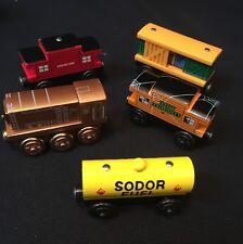 5 Thomas & Friends Authentic Wooden Railway Sodor Fuel Car Line Caboose Box Car