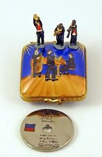 NEW FRENCH LIMOGES TRINKET BOX JAZZ BOX W MUSICIAN FIGURINES & PLATINUM RECORD