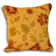 Paoletti Zurich Floral Chenille Jacquard Piped Cushion Cover Gold 45 X 45 Cm
