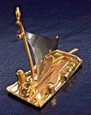 14k Two Tone Gold Rare Detailed Huck Finn Raft Charm