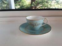 Vintage Royal Doulton MELROSE H.4955 Bone China Duck Egg Blue+Gold CUP+SAUCER §2