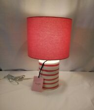 NEW Kate Spade ZEBRA STRIPE LIPSTICK PINK Ceramic Cylinder TABLE LAMP w/ Shade