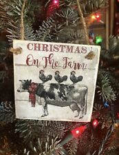 Vintage Cow Chicken Christmas Ornament Dairy Farm Barn Animal Farmhouse Tree