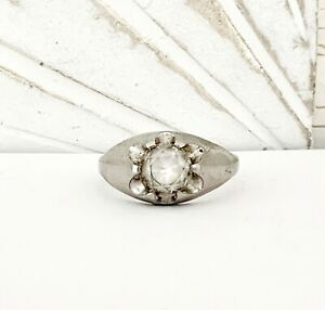 Old Uncas MENS Sterling Silver 925 White Topaz Art Deco Unisex Size 12 Band Ring