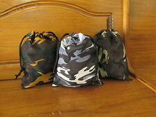 36 CAMOUFLAGED DRAWSTRING BAGS army camouflage CAMPOUT Birthday Party overnight
