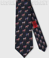 GUCCI men's Neck Tie Blue SILK twill Colorful HORSES INTERLOCKING G NWT Authentc