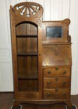 Antique Oak Arts & Crafts Secretary Drop Down Desk Glass Bookcase/Curio Cabinet