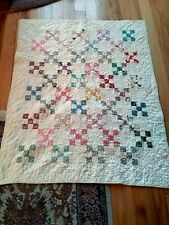 Antique Hand Stitched Feed sack? Quilt unique pattern 45x37 Wall Hanging 1930's