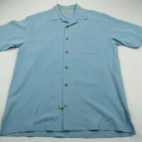 Tommy Bahama Men Polo Shirt Blue Hawaiian Palm Short Sleeve 100% Silk Small