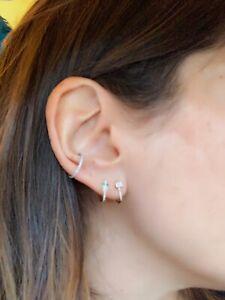 Heart Cartilage Ear Chain Double Stud Piercing 14K Yellow Gold Earring 0.09CT