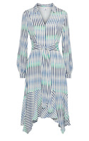 Iris & Ink Asymmetric Blue Striped Midi Crepe Shirt Dress UK10 RRP£145 PROMOTION