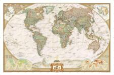 National Geographic World map Art Decor Poster 40x27 36x24 18x12""