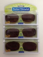 6 SOLAR SHIELD Clip-on Polarized Sunglasses Size 52 Rec 5 Brown Lens Full Frame
