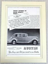 1937 Antique Print Austin Motor Car Fourteen Goodwood Saloon Original Advert
