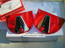 NEW PAIR OF RED VINTAGE STYLE HEAD LIGHT VISORS !