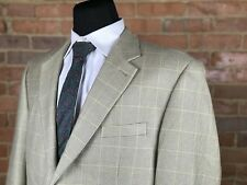 Ralph Lauren LRL 100% Silk Tan Houndstooth Windowpane 2 Btn Sport Coat Blazer 46