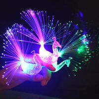 5/10x Peacock Colorful Light Up Finger Ring LED Glow In the Dark Party Kids Toys