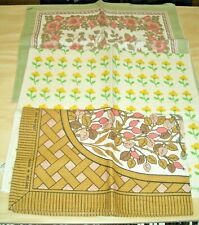 3 Tea Towels. Vintage Collectable. Lot #1 Floral and Bird design Sell 4 Charity
