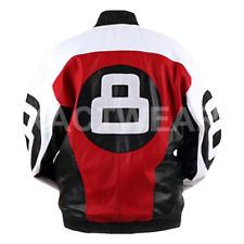 David Puddy 8 Ball Leather Jacket - Mens Bomber Letterman Jacket ALL SIZES 7XL