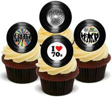 Novelty RETRO VINYL RECORD 70s SEVENTIES MIX 12 STAND UP Edible Cake Toppers