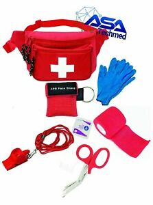 Lifeguard Fanny Pack First Aid Water Rescue kit Pocket CPR Mask Safety Whistle