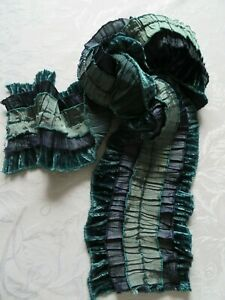 Elegant crimped silky scarf with stripes in navy, turquoise & green, by Mistral