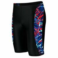 Speedo Boys' Spiral Curve Youth Jammer Swimsuit Navy/Red/White Size 20-28