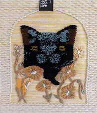 Vert sage designs jute tapisserie tentures murales-chat noir