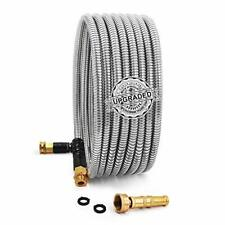25 Feet 304 Stainless Steel Metal Garden Hose With Solid Brass Nozzle