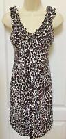En Focus Studio Size 10 Woman's Brown White Animal Print Sleeveless Dress
