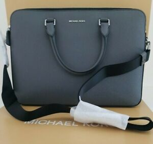 Michael Kors Harrison Leather Greyhound Briefcase Double Zip RRP £399 new laptop