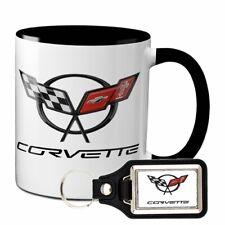 CORVETTE COFFEE MUG 11oz WITH MATCHING KEYCHAIN CHEVY GM KEY CHAIN RING