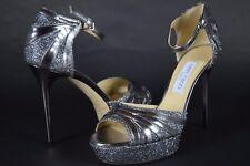 NIB! $995 Jimmy Choo Anthracite Leather Lame Glitter DEEMA Sandals Silver 39/9