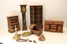 Misc Wooden MINIATURE DOLL HOUSE FURNITURE Bureau Grandfather Clock Accessories