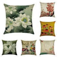 Home Decor Cotton Linen Flower Pillow Case Cover Sofa Car Throw Cushion Cover