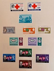 Bahamas 1964 - 1966 Commemoratives 6 complete sets LMM on album pages