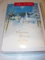 16 Christmas Cards & ENVELOPES HALLMARK GLITTER SNOW CHURCH RELIGIOUS JESUS 5X7