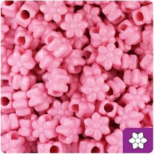 *3 FOR 2* 50 x Baby Pink Opaque 13mm Flower Shape Highest Quality Pony Beads
