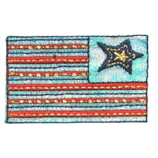 ID 1036 American Flag Craft Patch Patriotic Design Embroidered Iron On Applique