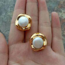 White Pearl Flower 24 K Gold Plated Stud Earrings