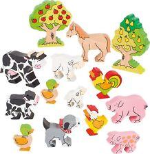 Bauernhoftiere bunt bemalt aus Holz Massivholz-Farmtiere Spielzeug Set 931-53034