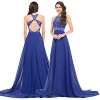 BLUE Formal Women Long Dress Prom Bridesmaid Evening Cocktail Wedding Party Gown