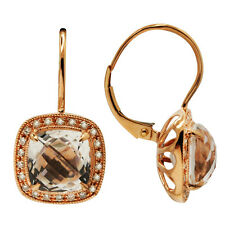 $1209 14K ROSE GOLD PAVE DIAMOND 4.20 WHITE TOPAZ DANGLE LEVERBACK DROP EARRINGS