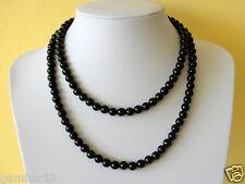8mm Black Onyx Double Strand Necklace 8 mm Black Onyx Beads Multi Strand Long