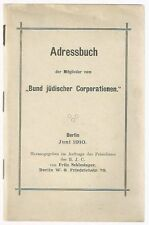 Rare! 1910 ADDRESS BOOK Catalogue Jewish Residents Germany Judaica German Berlin