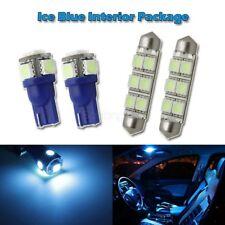 4 Interior Package Kit Ice Blue Map Dome LED Light Bulb T10 194 W5W 6411 Festoon