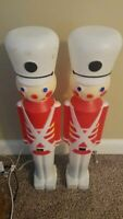 """Vintage 1987 30"""" Toy Soldier Blow Mold Decor Lot of 2"""