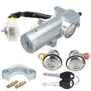Set of 3 Lock Door Kit Ignition Barrel Switch +2 Key For Nissan Navara D22 97-06